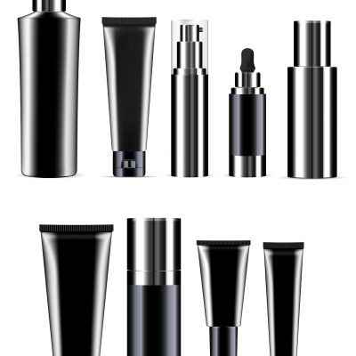 Black Cosmetic Bottle Set. Realistic Product Jar. Isolated Plastic Container Collection for Hair Shampoo, Gel, Balsam. Pump Dispenser, Tube, Dropper, Vial Packaging Mockup. Skin Care Package Kit.
